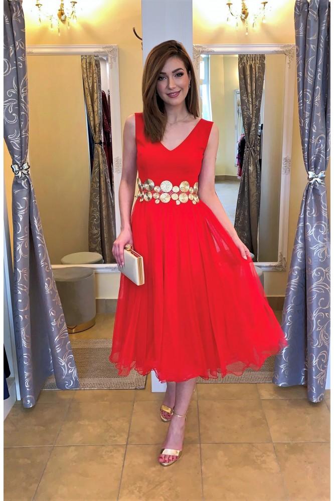 Červené spoločenské midi šaty s tylom