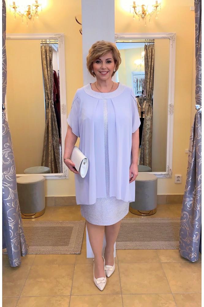 Sivo-fialkové šaty so šifónom pre svadobnú mamu