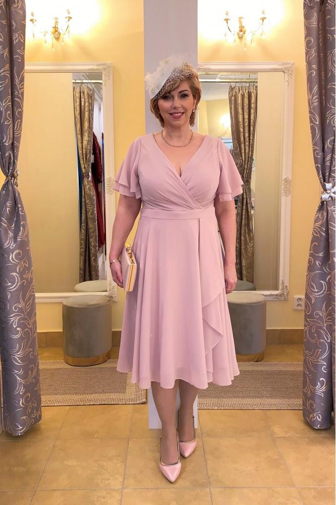 Ružové spoločenské midi šaty zo šifónu