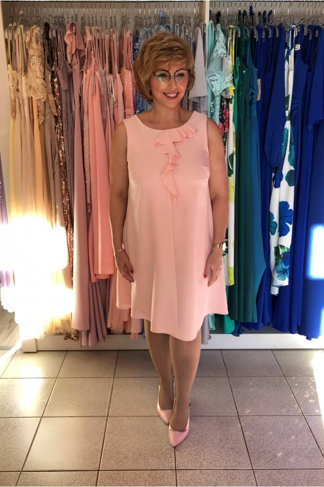 Krátke ružové šaty s volánikom