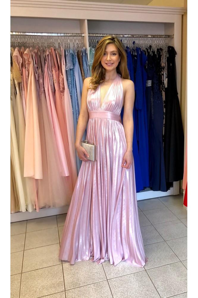 Dlhé ružové šaty s odhaleným chrbátom