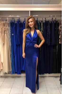 Modré saténové šaty s rozparkom