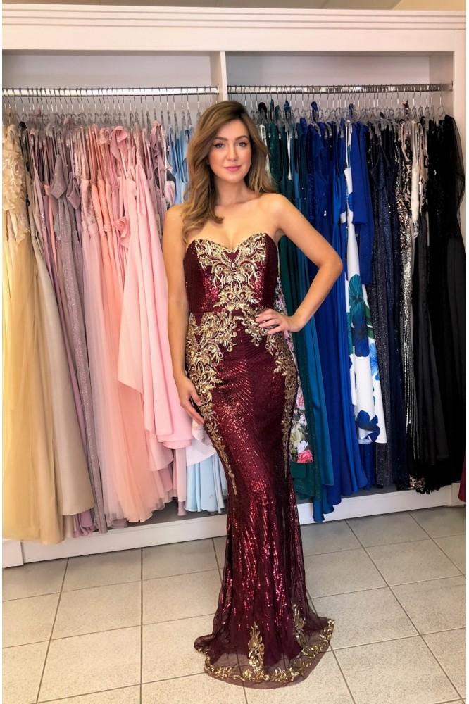 Flitrované bordovo-zlaté obtiahnuté šaty