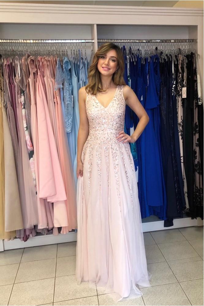 Dlhé svetlo-ružové tylové šaty s flitrami