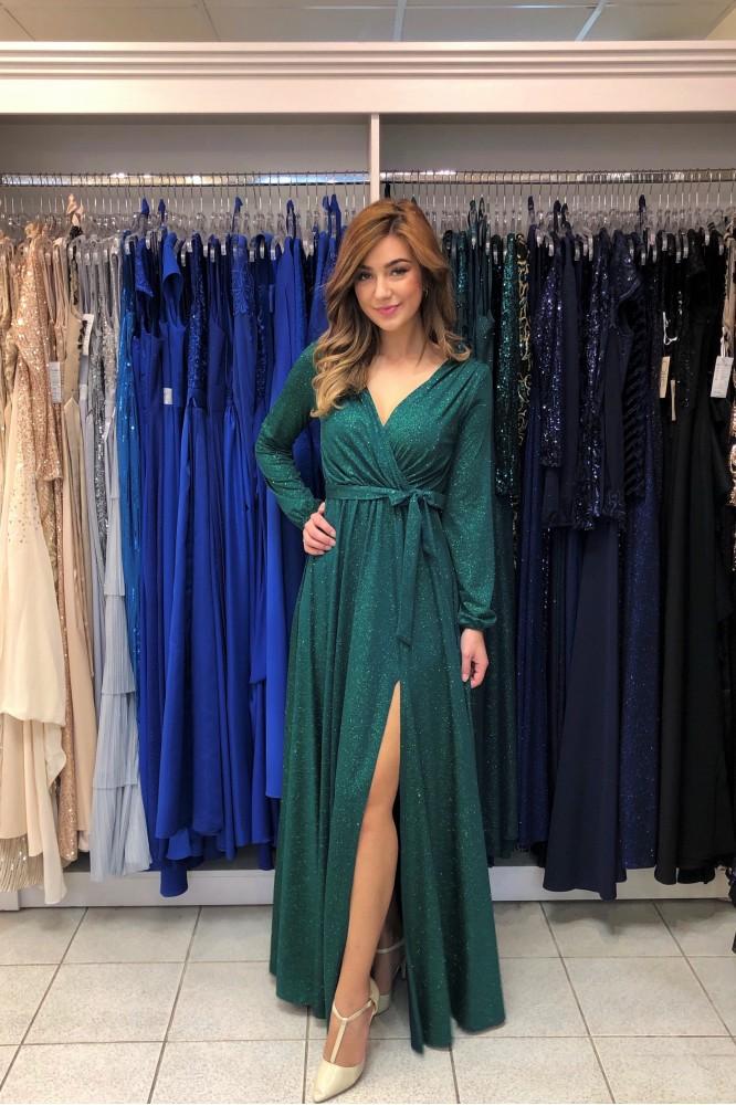 Smaragdové spoločenské šaty s trblietkami