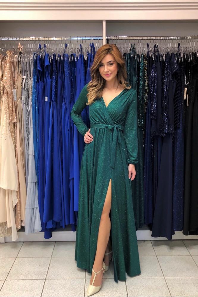 Zelené spoločenské šaty s trblietkami