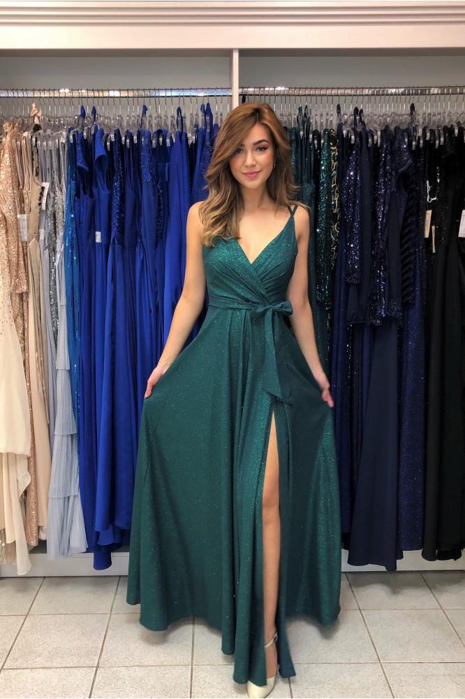 Zelené spoločenské šaty s tenkými ramienkami