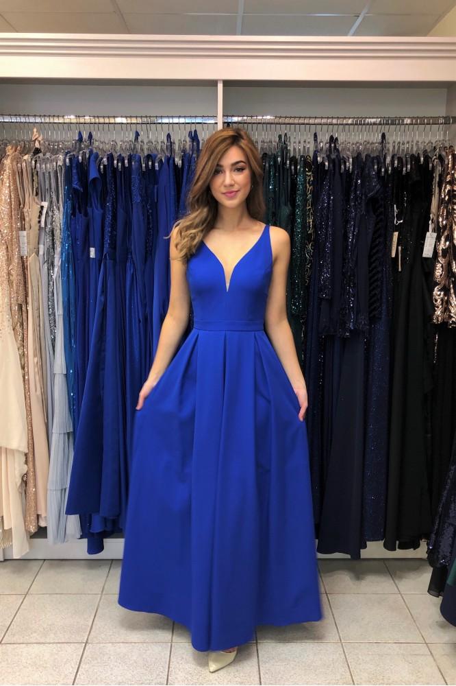 Modré spoločenské šaty s áčkovou sukničkou