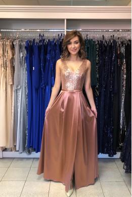 Bronzové spoločenské šaty so saténovou sukňou