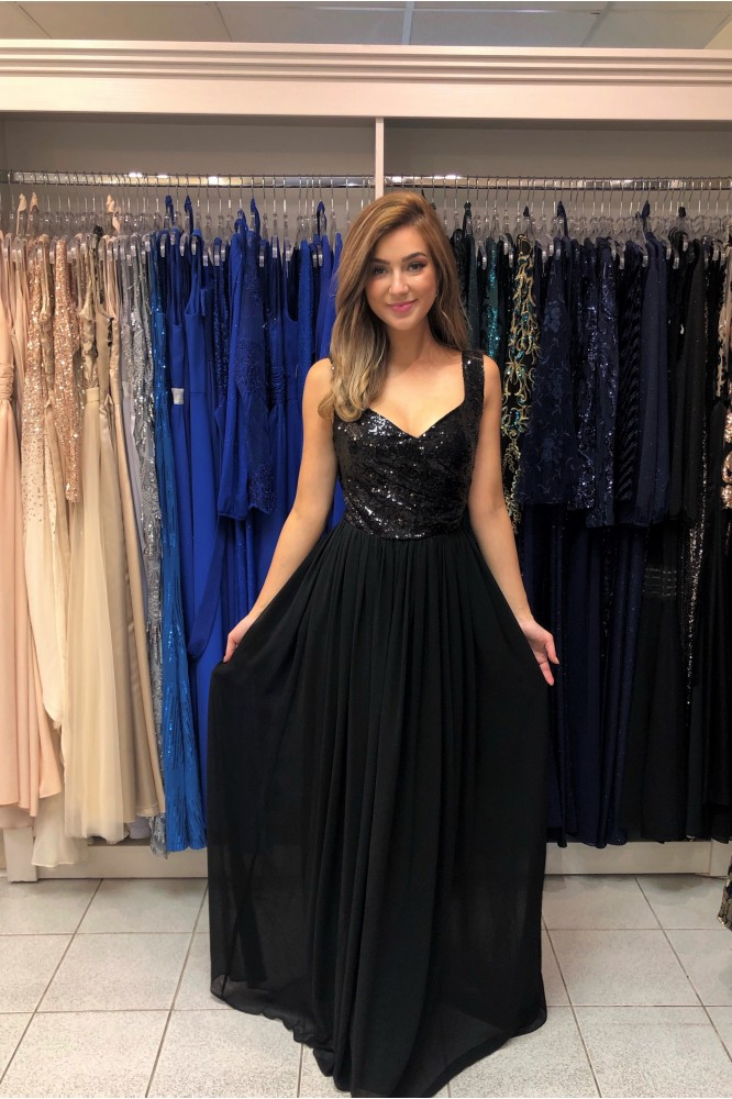 Čierne spoločenské šaty so šifónovou sukňou