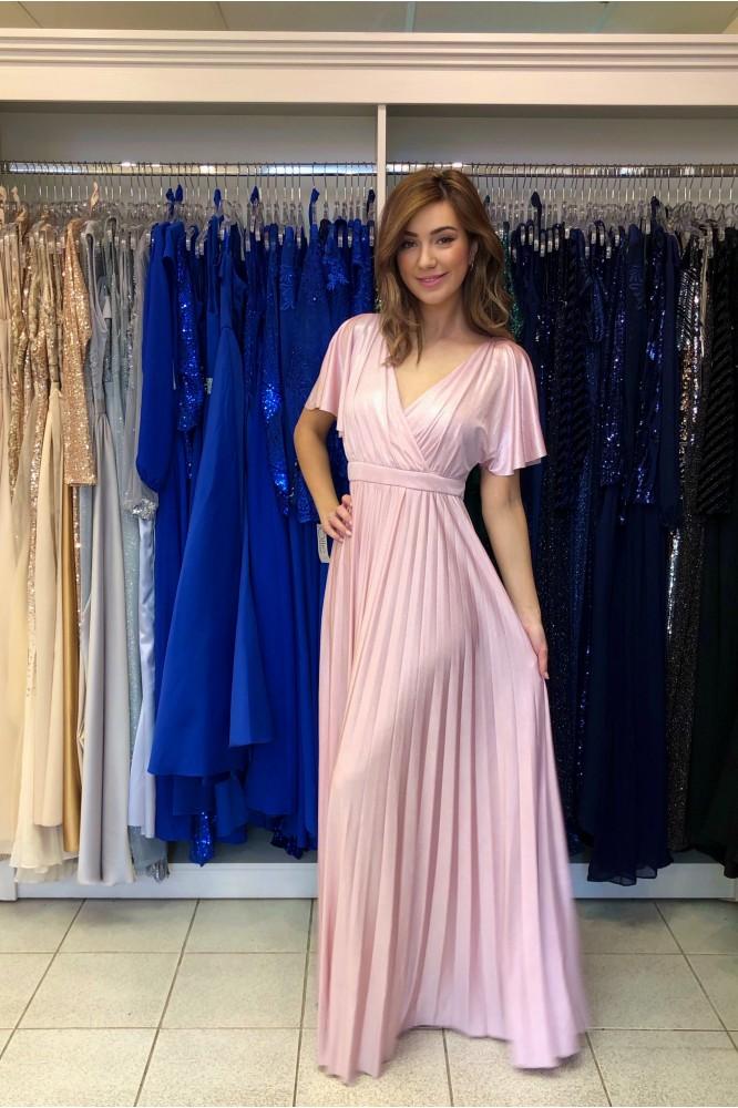 Dlhé ružové šaty s plisovanou áčkovou sukňou
