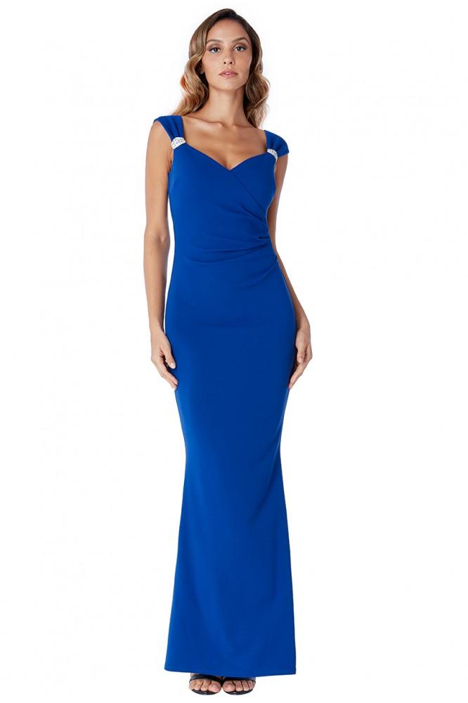 Priliehavé modré šaty so striebornou aplikáciou