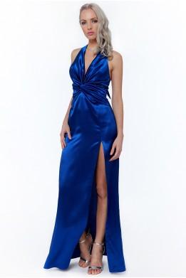 Saténové modré spoločenské šaty s rozparkom