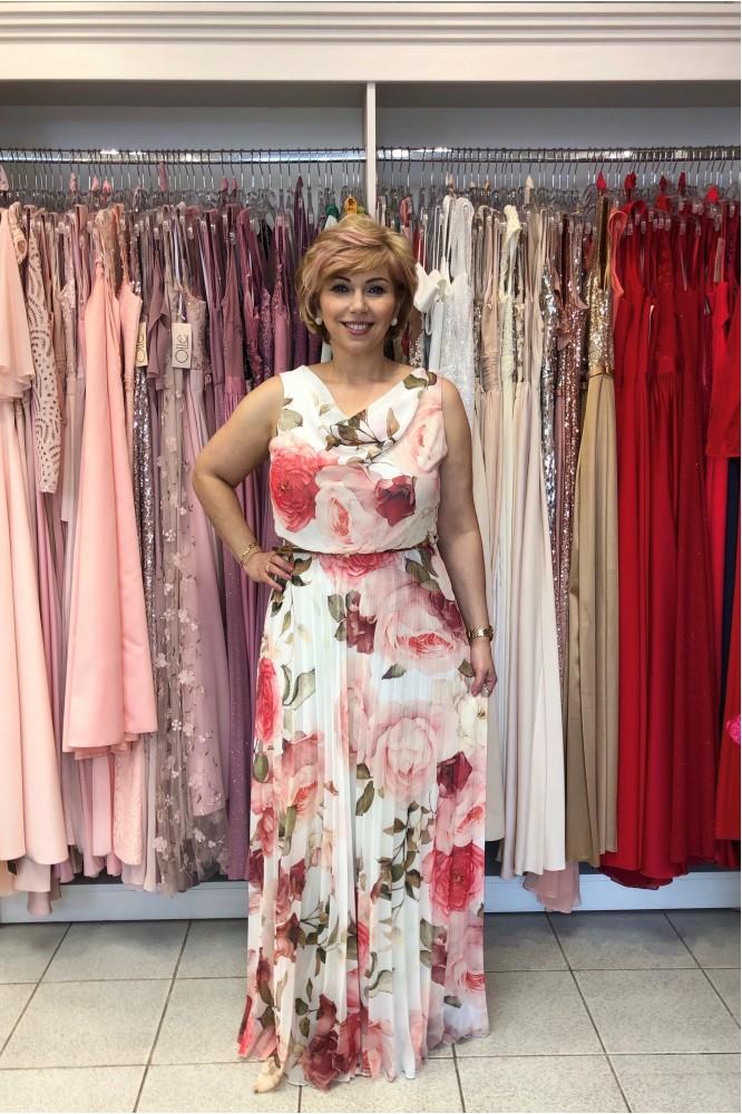 Dlhé letné šifónové šaty s plisovanou sukňou Rose