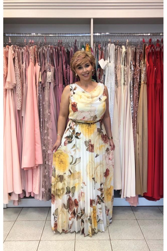 Dlhé šifónové kvetované šaty s plisovanou sukňou
