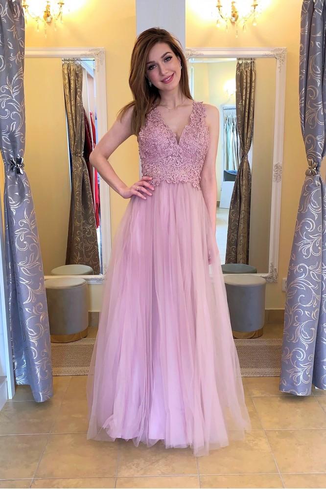 Dlhé fialovo-ružové spoločenské šaty s tylom