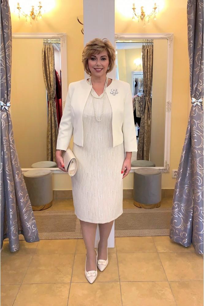 Exkluzívny béžový kostým s perlami svadobná mama