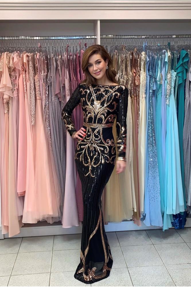 Čierno-zlaté spoločenské šaty s rukávom