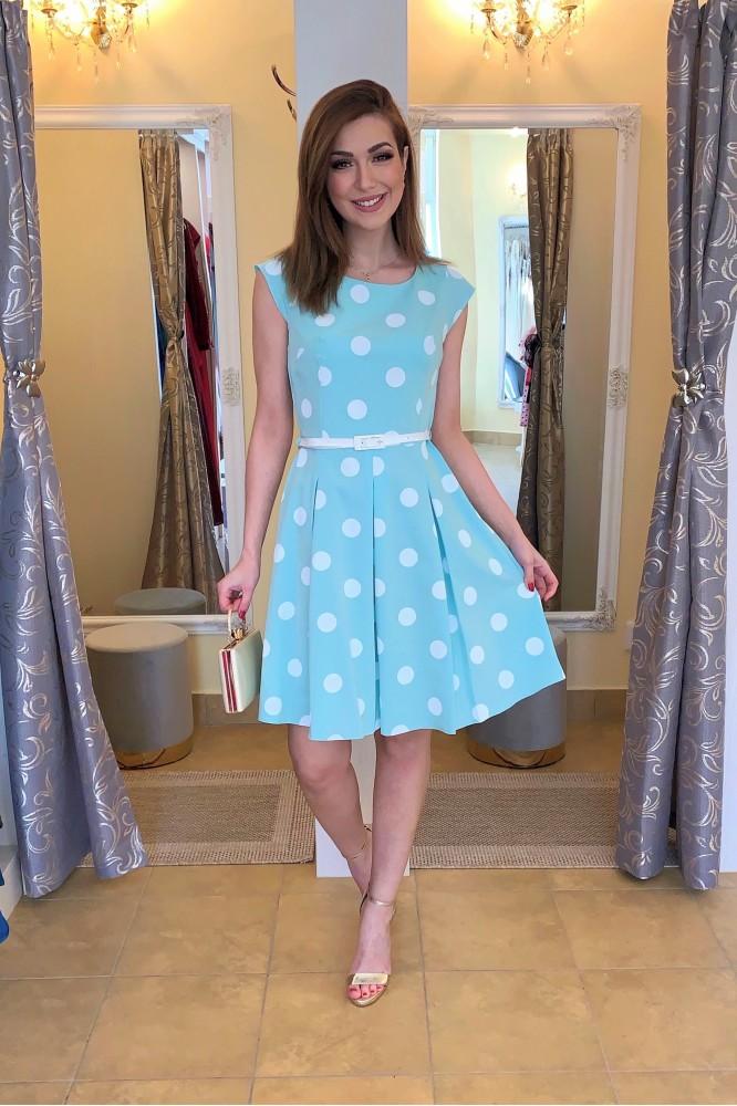 Krátke letné bodkované šaty Mint