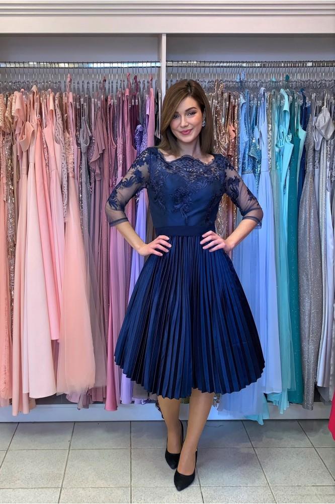 Modré spoločenské midi šaty Chichi London