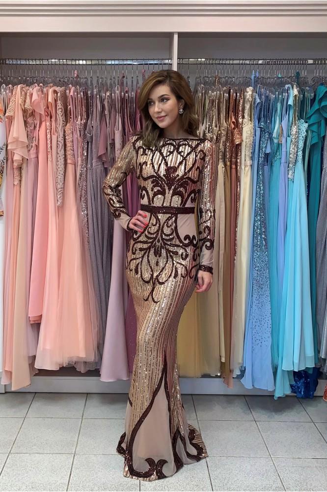 Béžové spoločenské šaty s dlhým rukávom