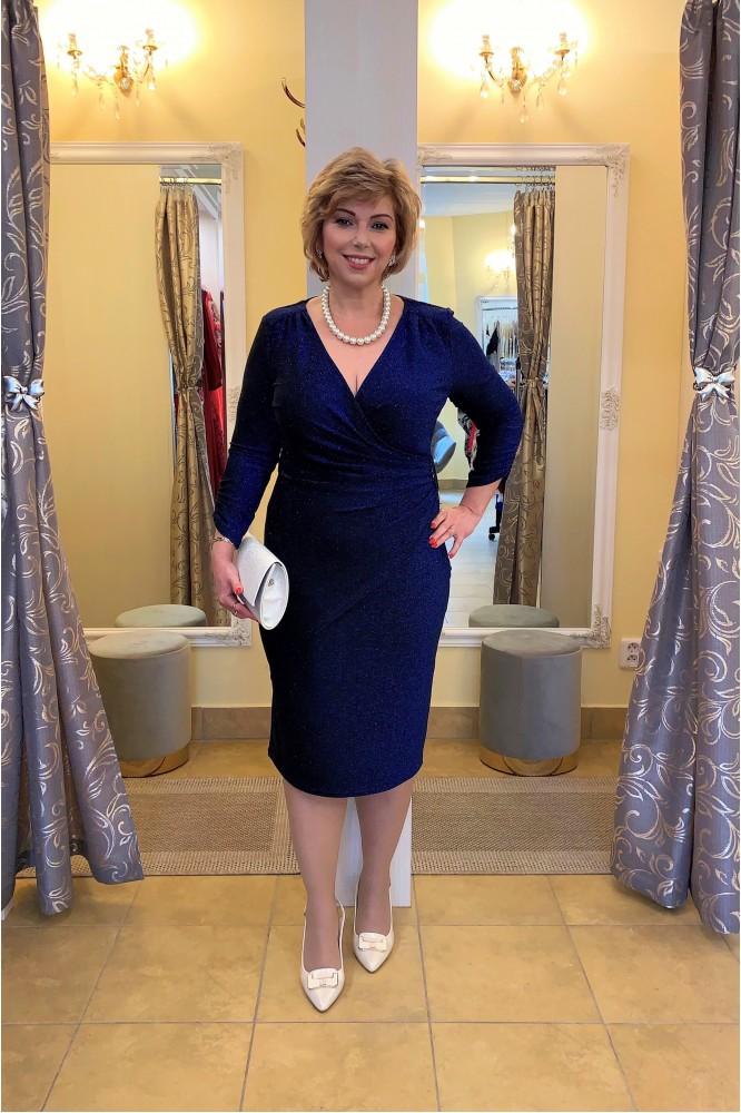 Tmavo-modré spoločenské úpletové šaty