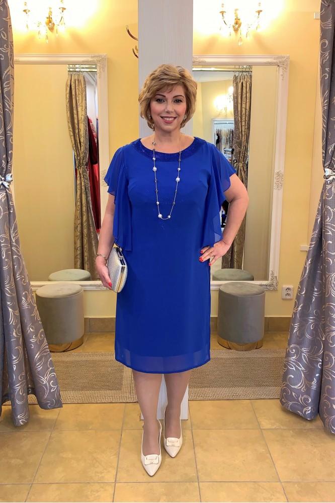 Kráľovsky-modré elegantné šaty so šifónom