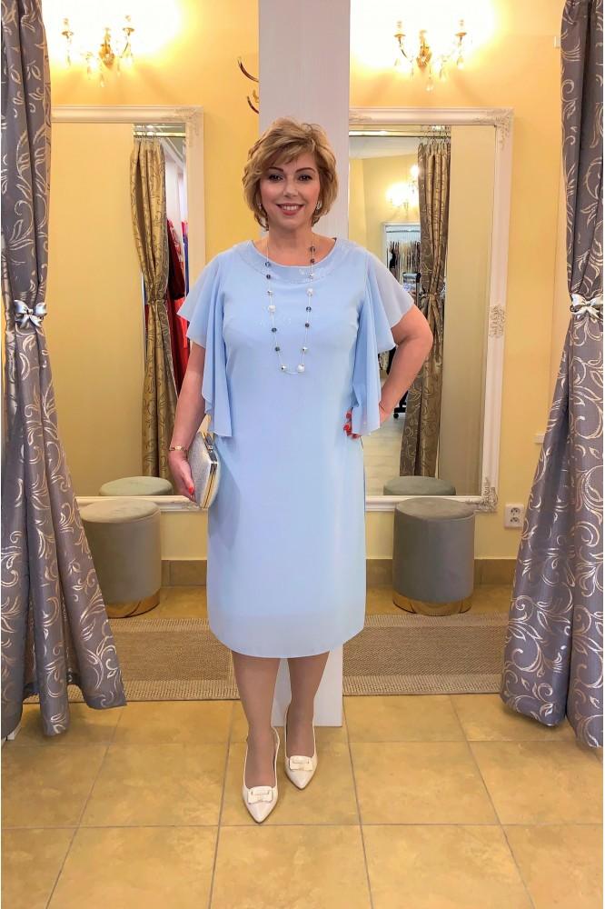 Svetlo-modré elegantné šaty so šifónom