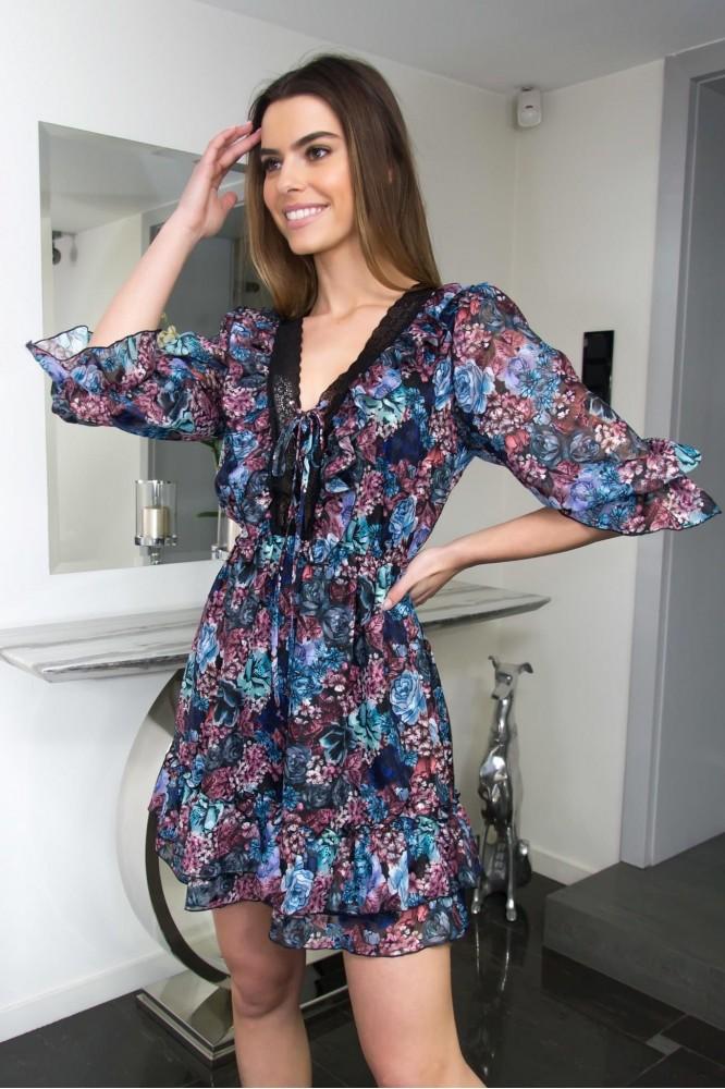 Krátke šifónové romantické šaty Dark flowers