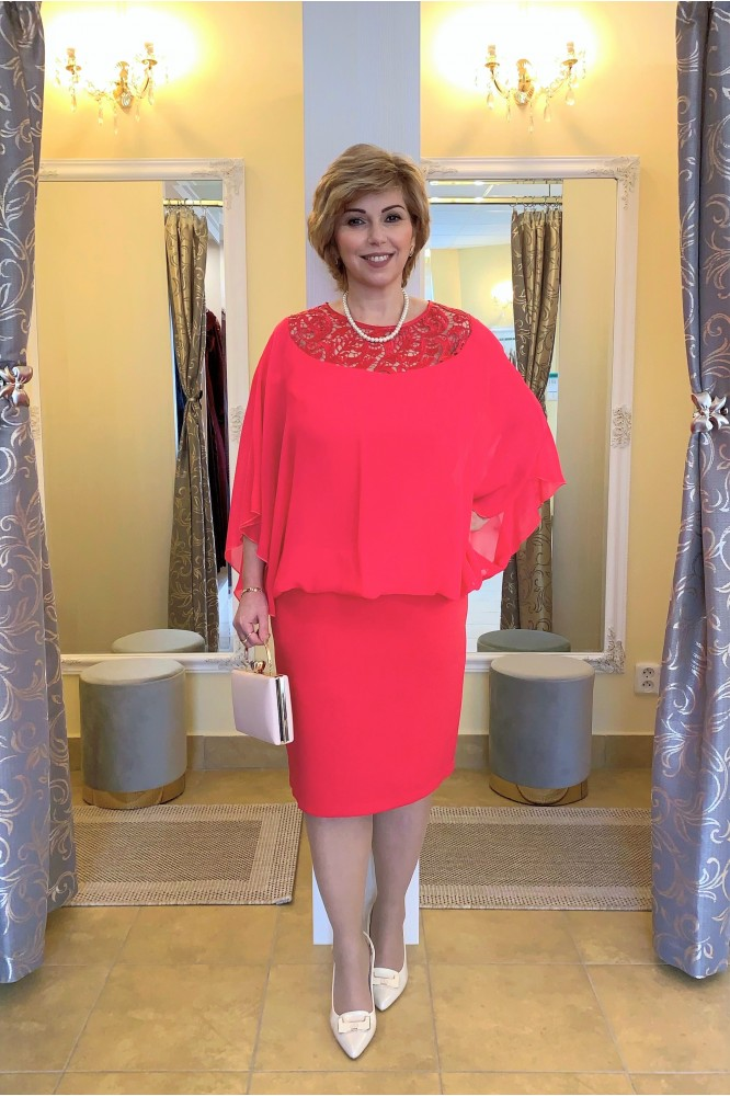 Spoločenské krátke cyklamenové šaty s krajkou
