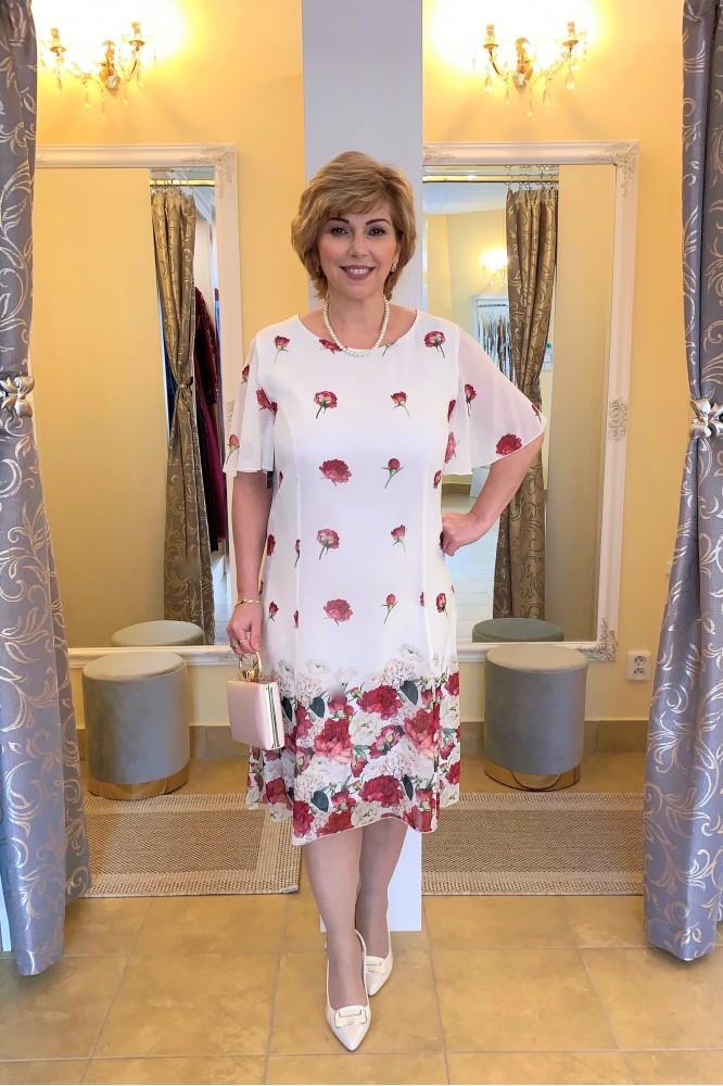Biele krátke šifónové šaty Floral