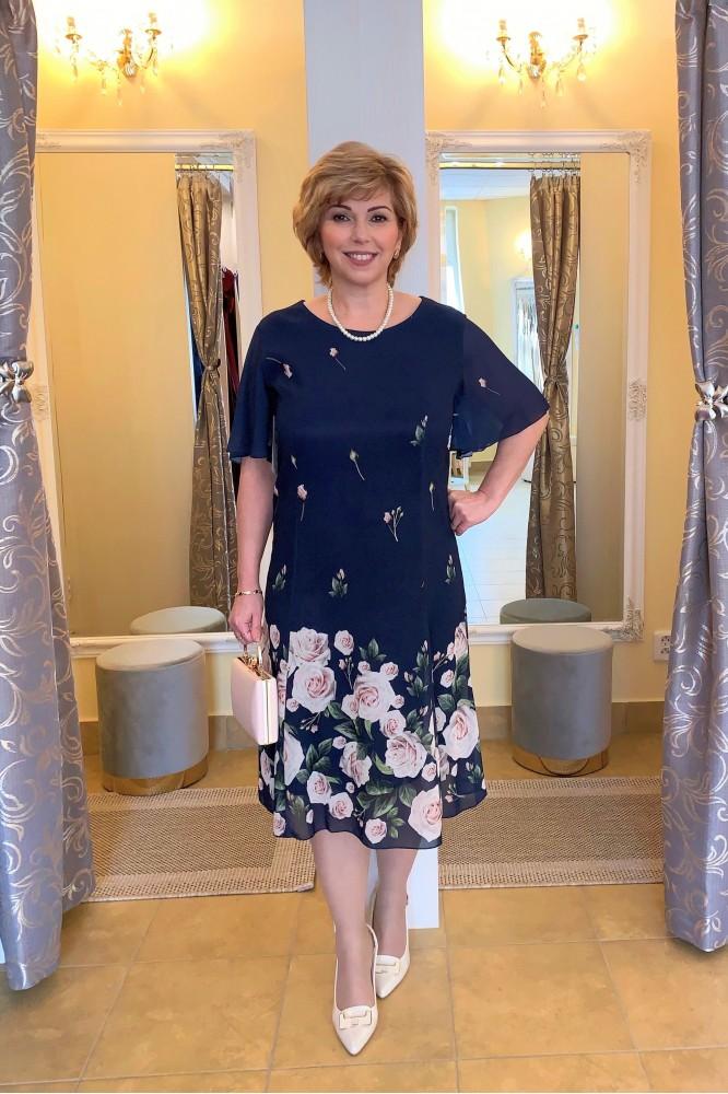 Tmavo-modré krátke šifónové šaty Floral