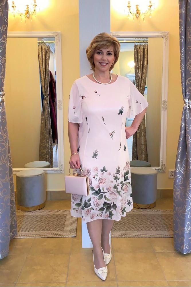 Svetlo-ružové krátke šifónové šaty Floral