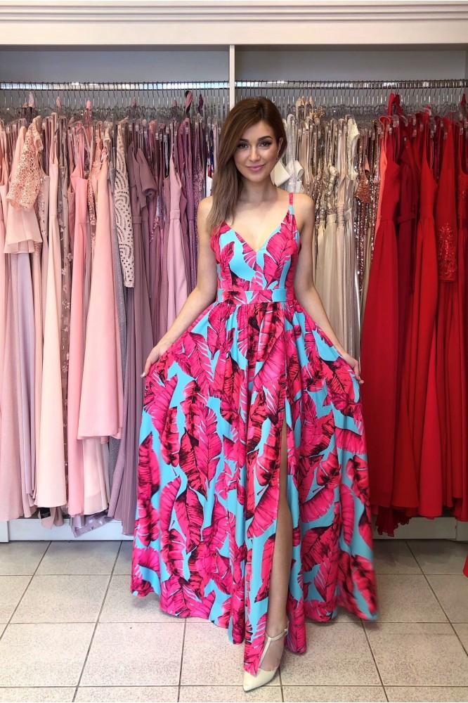 Dlhé spoločenské kvetované šaty - cyklamenové listy