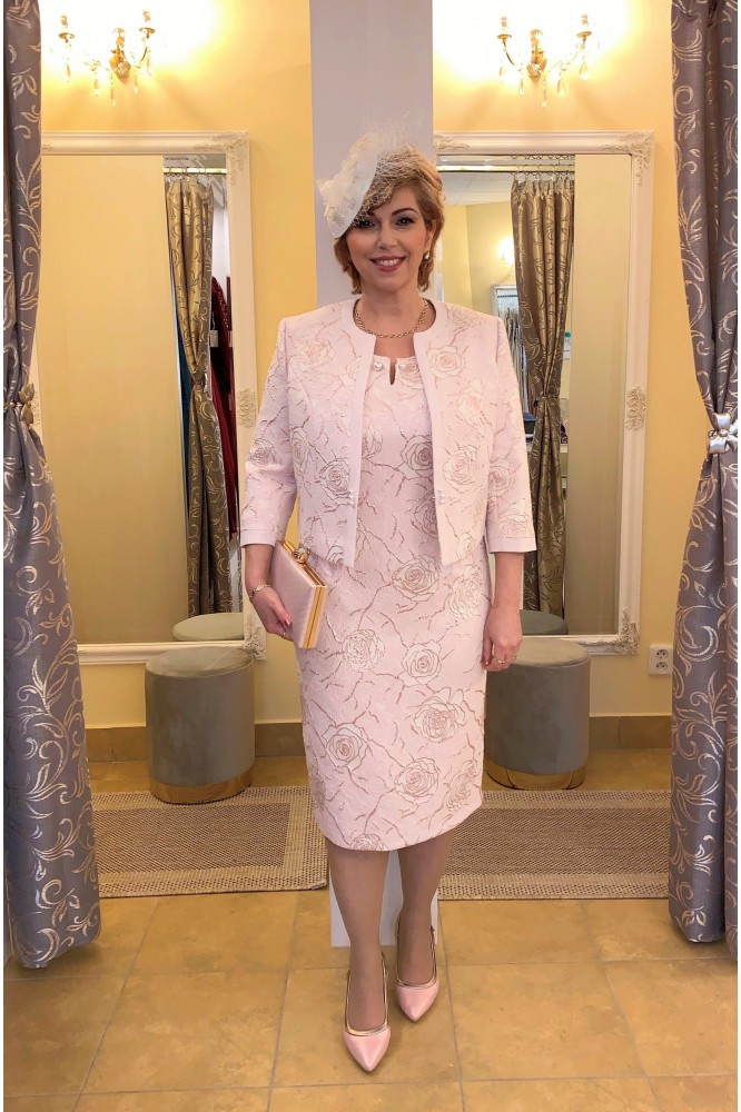 Ružový spoločenský kostým pre svadobnú mamu ROSE