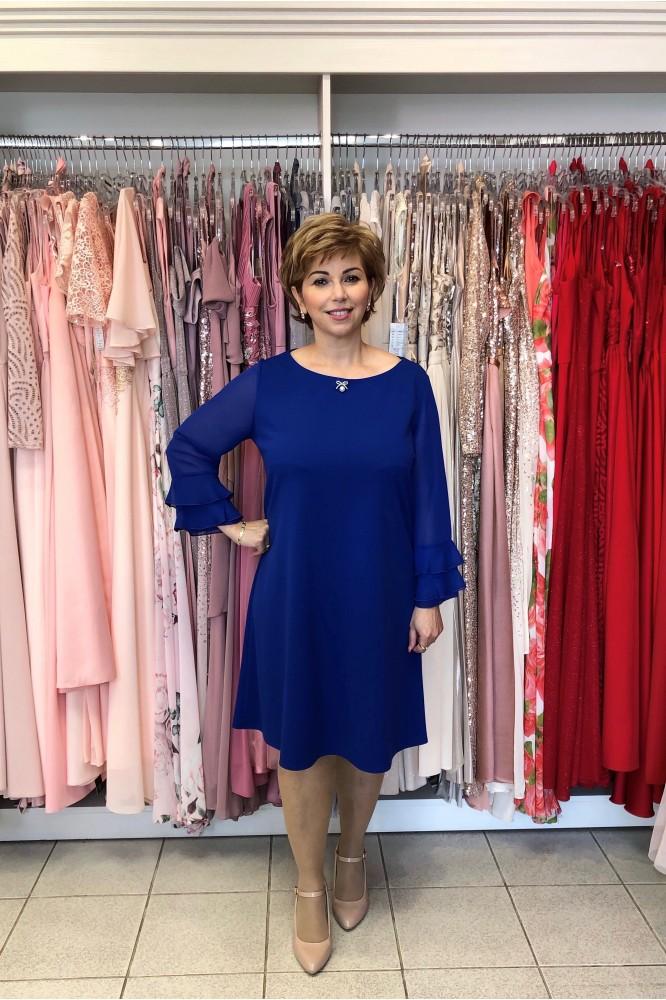 Modré áčkové šaty s tylovým rukávom plus size