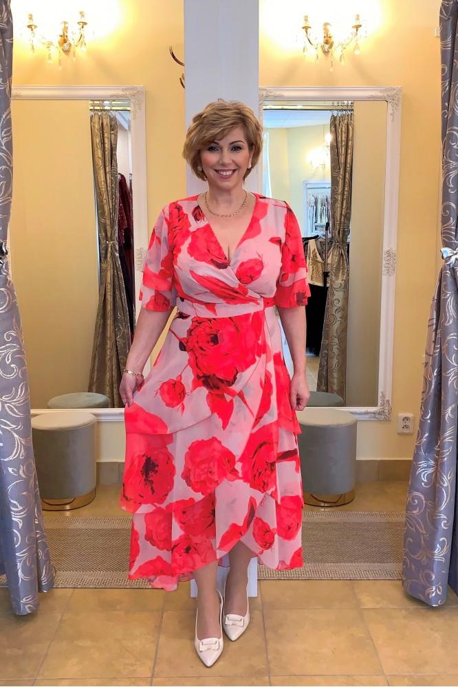 Zavinovacie šaty s červenými kvetmi plus size