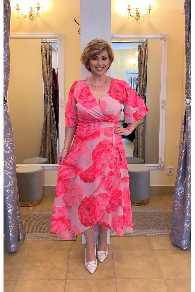 Zavinovacie šaty s ružovými kvetmi plus size