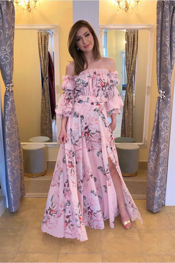 Ružové spoločenské šaty s rozparkom FLORAL