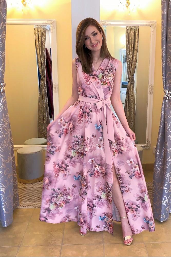 Dlhé ružové kvetované šaty na hrubé ramienka