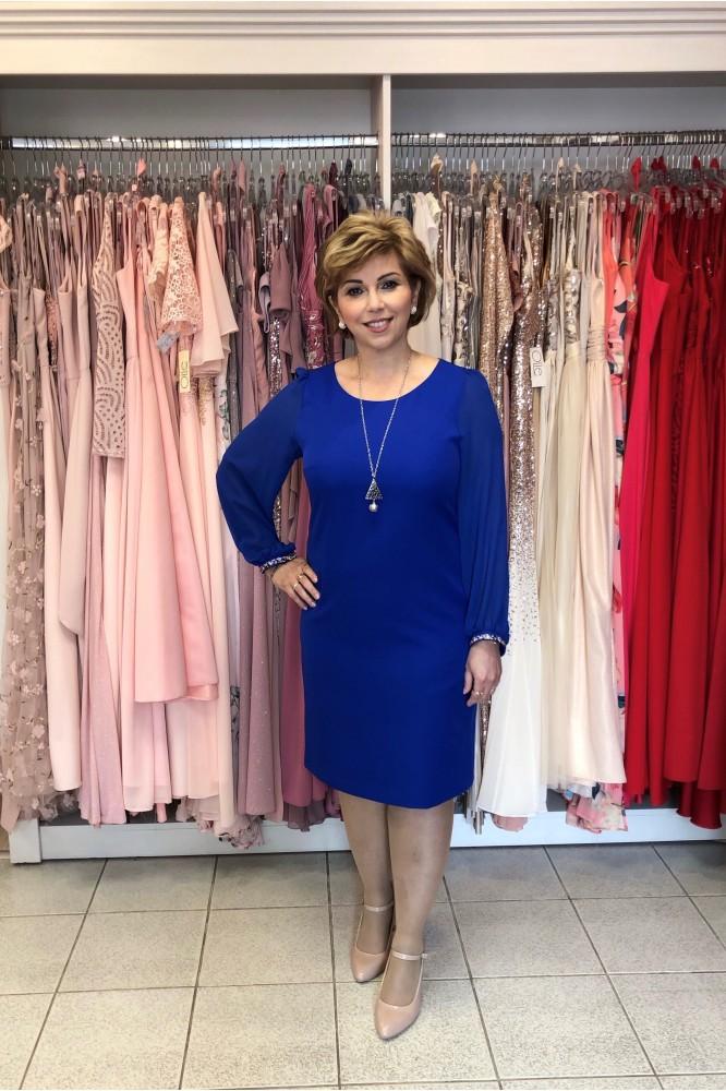 Modré spoločenské šaty s tenkým rukávom