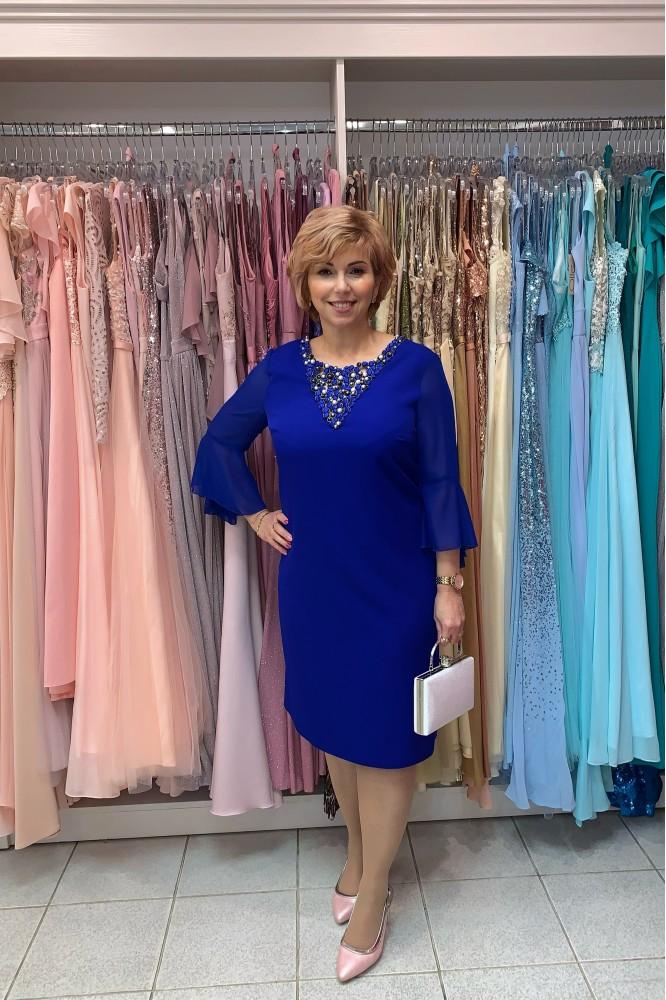 Krátke spoločenské šaty s perličkami blue