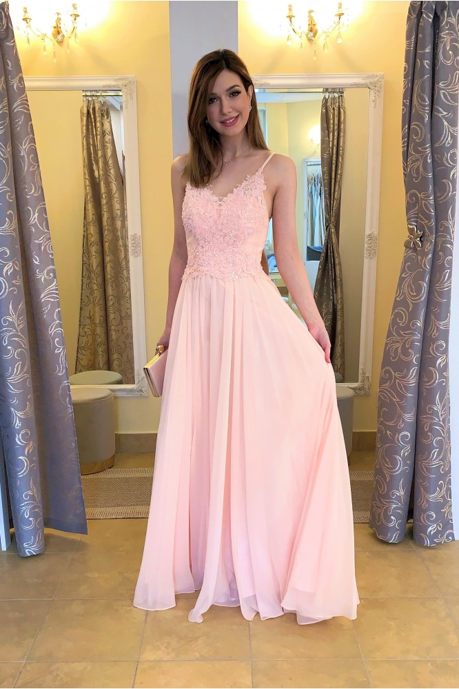 Dlhé ružové spoločenské šaty na svadbu
