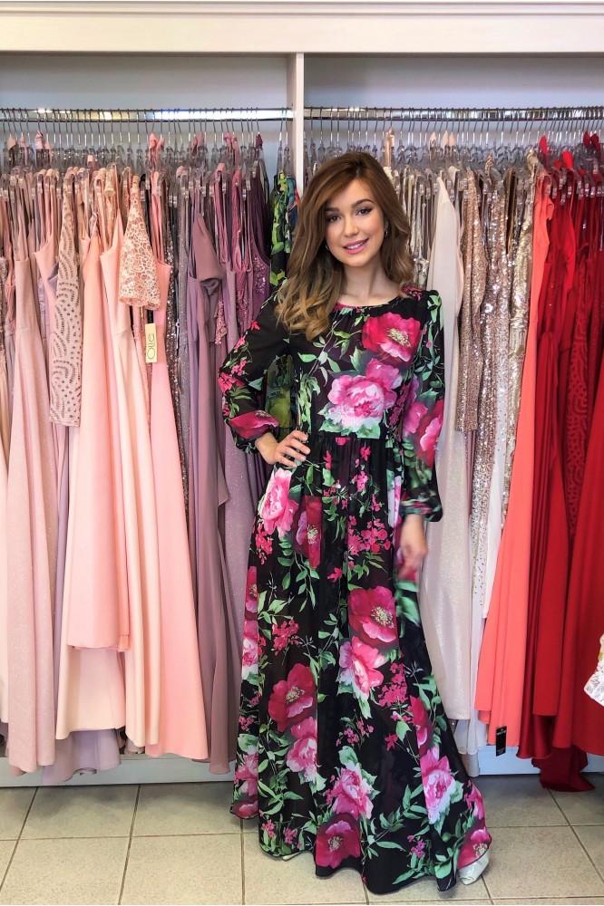 Dlhé padavé kvetované šaty Magenta