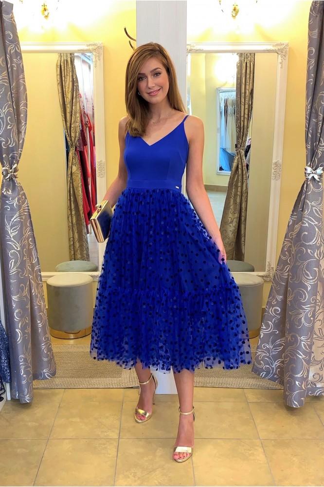 Spoločenské midi šaty s tylom blue dots