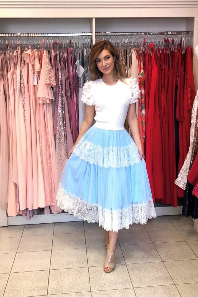Svetlo-modrá midi sukňa na gumičku