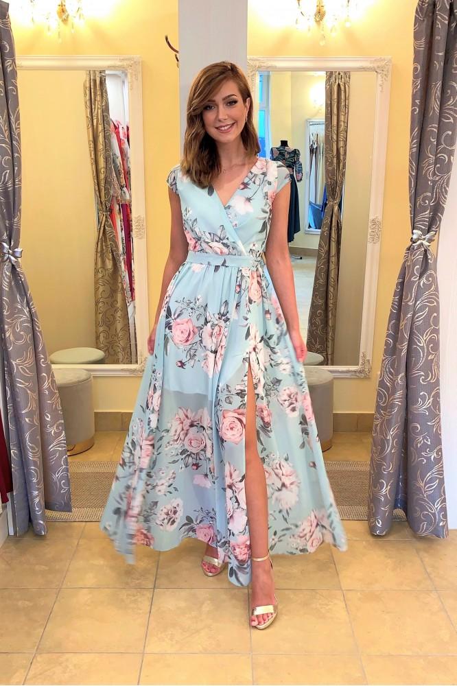 Dlhé kvetované šaty s krátkym rukávom mint