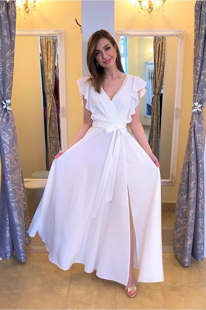 Dlhé biele spoločenské šaty pre nevestu