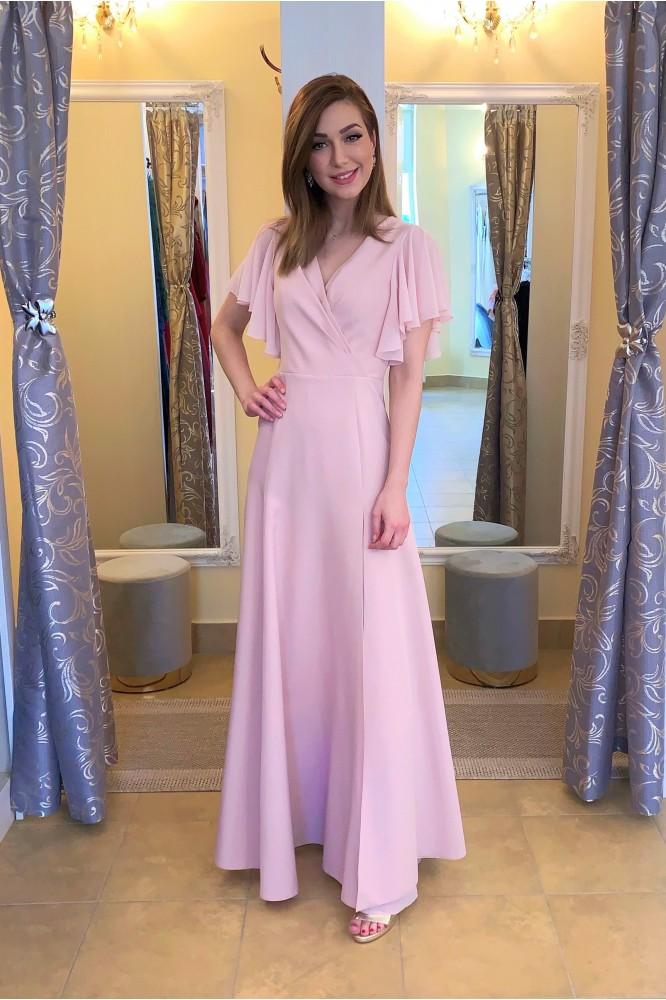 Ružové dlhé spoločenské šaty so šifónovým rukávom