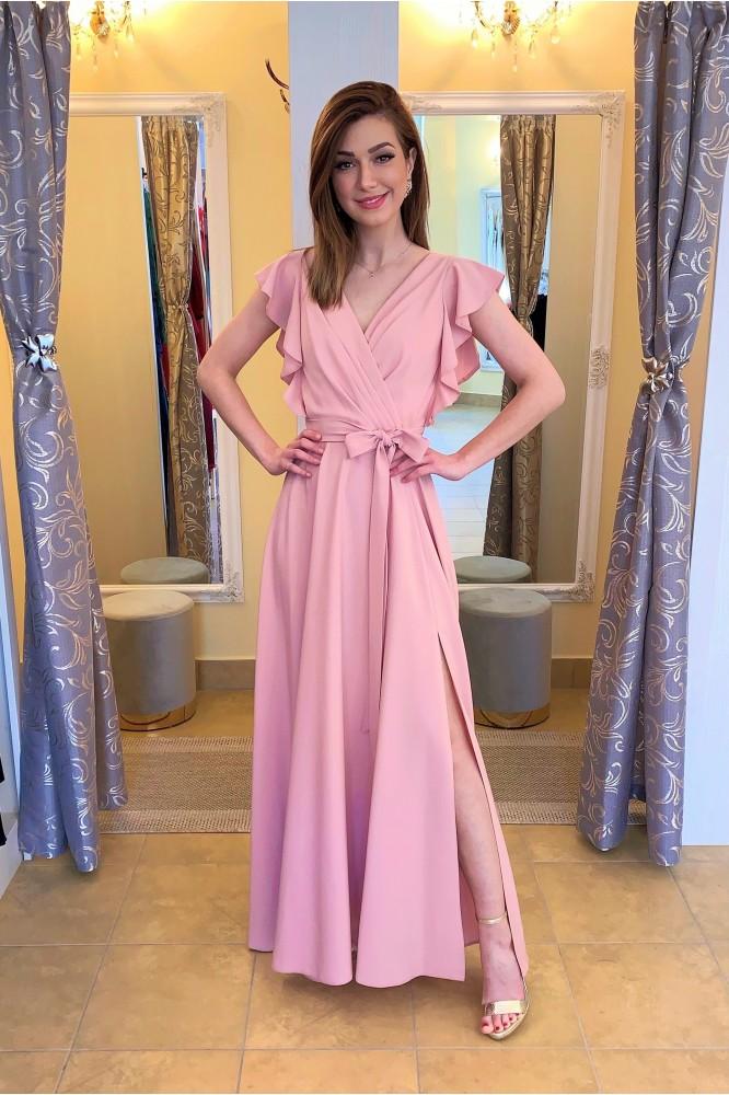 Dlhé ružové spoločenské šaty s volánovým rukávom